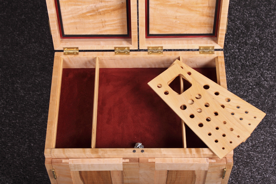Tiger Maple Fly Tying Box - contemporary style wooden portable fly tying box