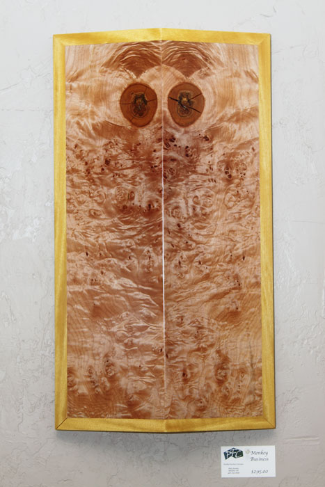 Monkey Business - wood wall art - crazy monkey face made from book matched quilted maple and yellowheart